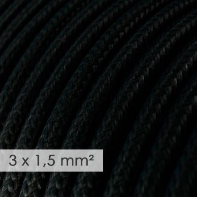 Textilkabel rund mit breitem Querschnitt 3x1,50 - Seideneffekt Schwarz RM04