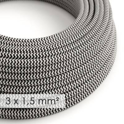 Textilkabel rund mit breitem Querschnitt 3x1,50 - Seideneffekt ZickZack Schwarz RZ04
