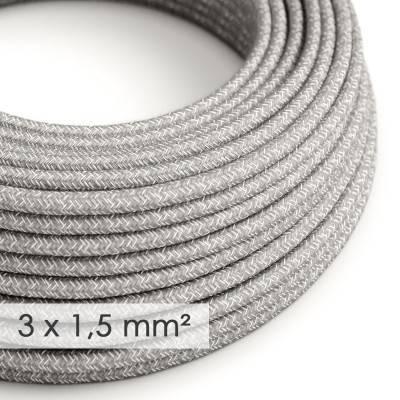 Textilkabel rund mit breitem Querschnitt 3x1,50 - Natürliches Leinen Grau RN02