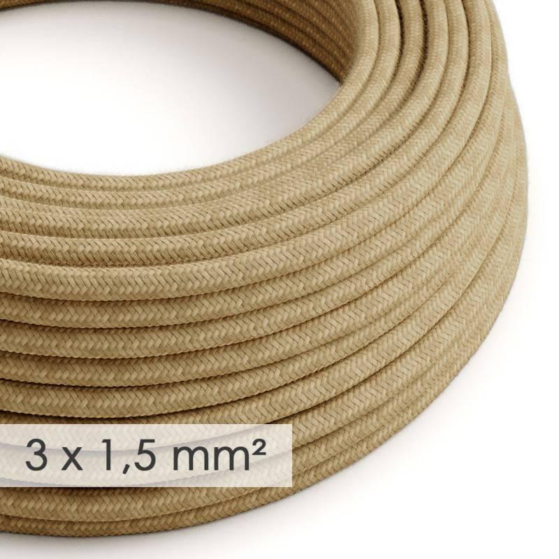 Textilkabel rund mit breitem Querschnitt 3x1,50 - Jutefaser RN06