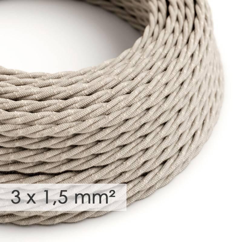 Textilkabel geflochten mit breitem Querschnitt 3x1,50 - Natürliches Leinen Neutral TN01