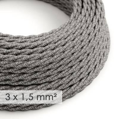 Textilkabel geflochten mit breitem Querschnitt 3x1,50 - Natürliches Leinen Grau TN02