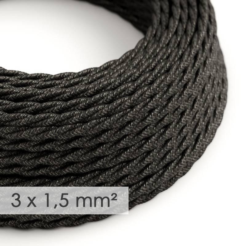 Textilkabel geflochten mit breitem Querschnitt 3x1,50 - Natürliches Leinen Anthrazit TN03