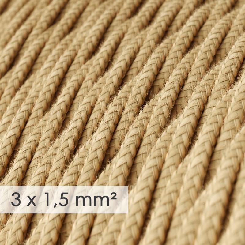 Textilkabel geflochten mit breitem Querschnitt 3x1,50 - Jutefaser TN06