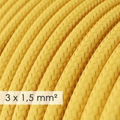 Textilkabel rund mit breitem Querschnitt 3x1,50 - Seideneffekt Gelb RM10
