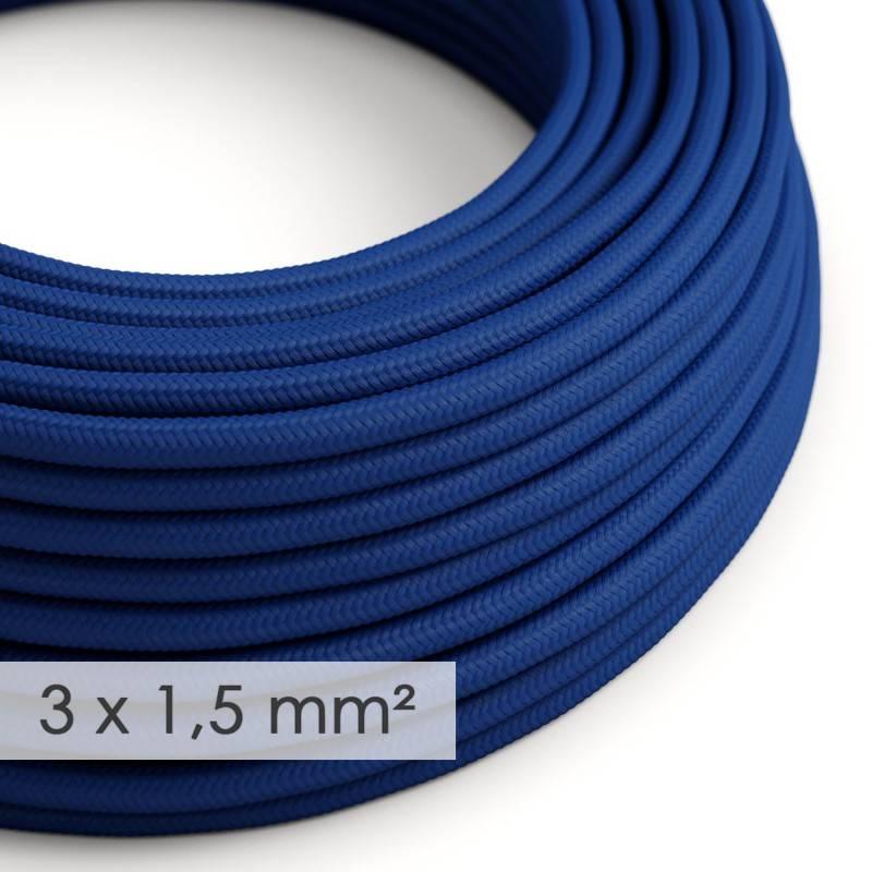 Textilkabel rund mit breitem Querschnitt 3x1,50 - Seideneffekt Blau RM12