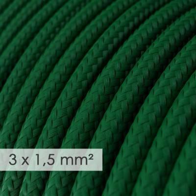 Textilkabel rund mit breitem Querschnitt 3x1,50 - Seideneffekt Dunkelgrün RM21
