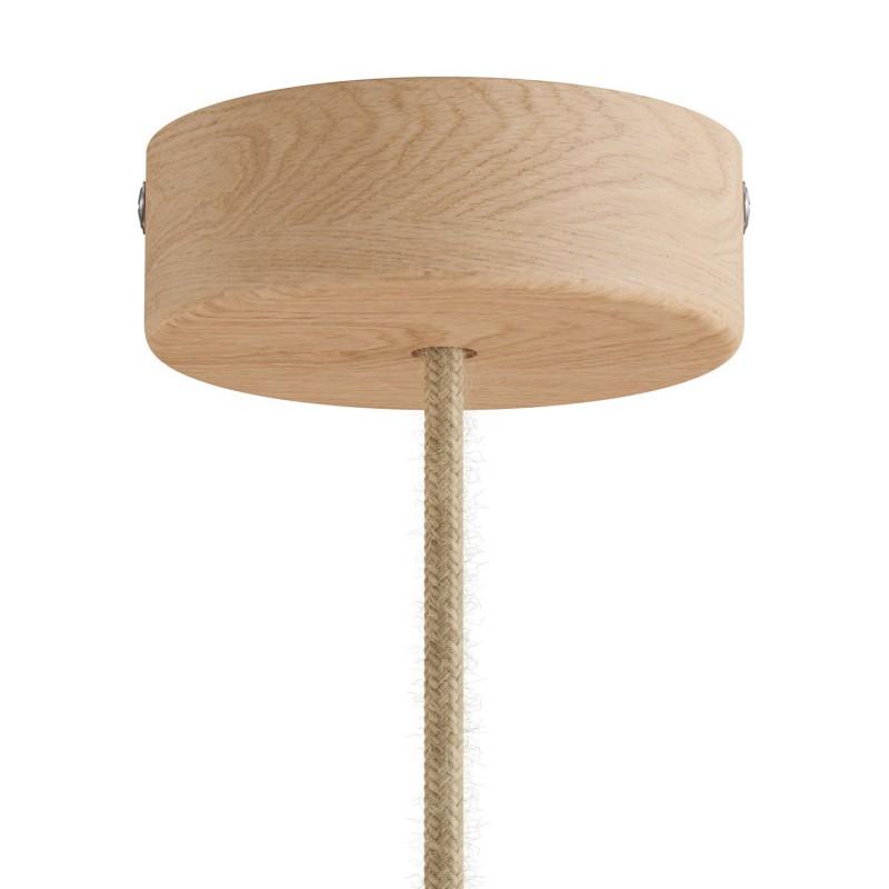 Pendelleuchte Made in Italy, komplett mit Textilkabel und Komponenten aus Holz