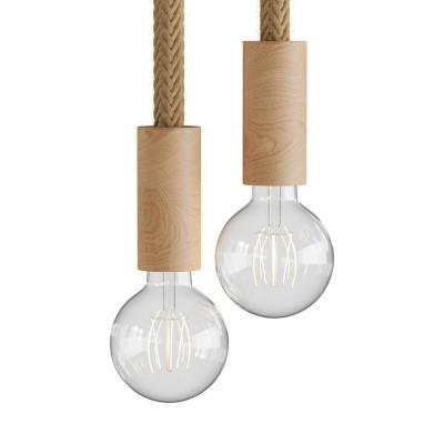 Mehrfach-Pendelleuchte mit 2 Aufhängungen, komplett mit 2XL Tauseil und Komponenten aus Holz