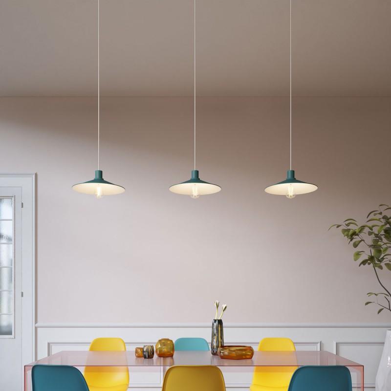 Pendlleuchte Made in Italy, komplett mit Textilkabel, Pastell Lampenschirm Swing und Komponenten in Metall Ausführung