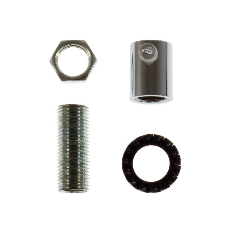 Runde Zugentlastung aus Metall, komplett mit Gewinderohr, Mutter und Unterlegscheibe