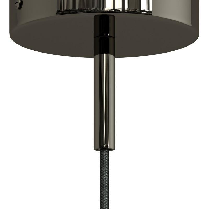Runde Zugentlastung aus Metall, 7 cm lang, komplett mit Gewinderohr, Mutter und Unterlegscheibe