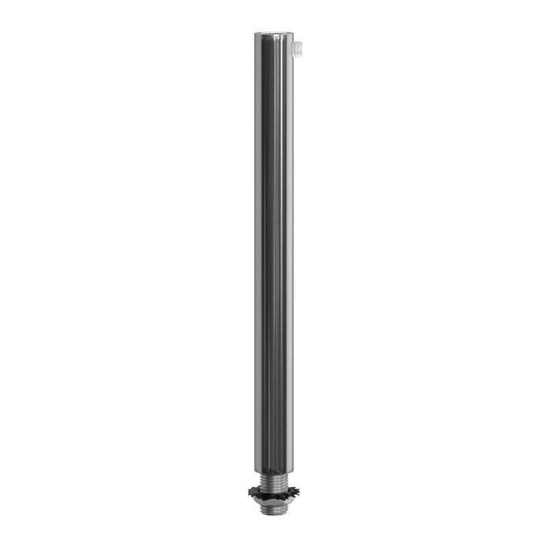 Runde Zugentlastung aus Metall, 15 cm lang, komplett mit Gewinderohr, Mutter und Unterlegscheibe