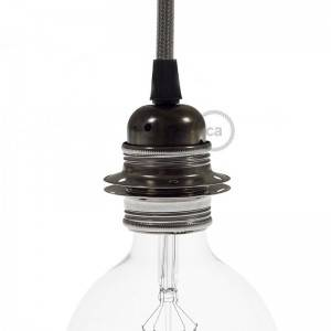 Kit E27 Lampenfassung aus Metall mit Doppelklemmring für Lampenschirm