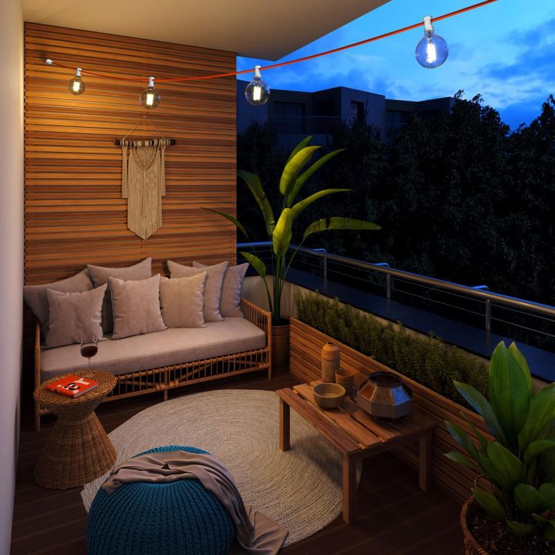 12,5 m gebrauchsfertige Lumet mit 10 Lampenfassungen, Haken und Stecker in Weiß