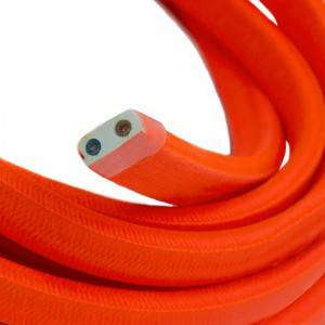 Elektrisches Kabel für Lichterketten, überzogen mit Orange Textilgewebe Seideneffekt CF15