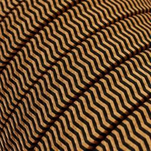 Elektrisches Kabel für Lichterketten, überzogen mit Schwarz-Whisky Textilgewebe Zick-Zack Seideneffekt CZ22