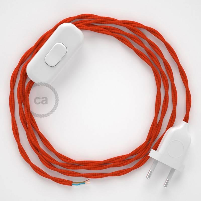 Zuleitung für Tischleuchten TM15 Orange Seideneffekt 1,80 m. Wählen Sie aus drei Farben bei Schalter und Stecke.