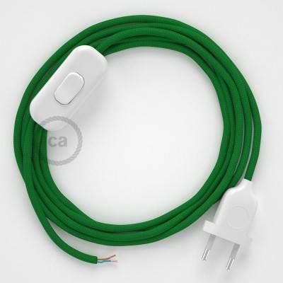 Zuleitung für Tischleuchten RM06 Grün Seideneffekt 1,80 m. Wählen Sie aus drei Farben bei Schalter und Stecke.