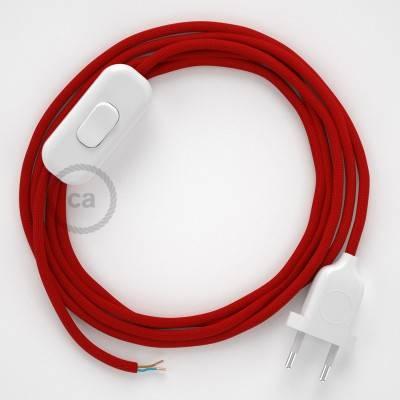 Zuleitung für Tischleuchten RM09 Rot Seideneffekt 1,80 m. Wählen Sie aus drei Farben bei Schalter und Stecke.