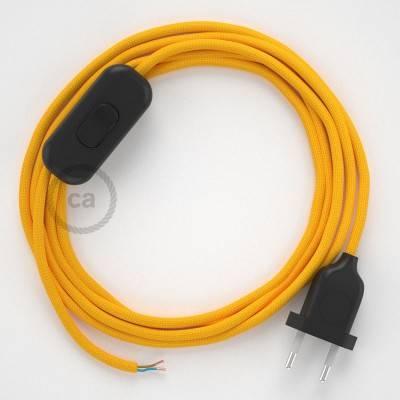 Zuleitung für Tischleuchten RM10 Gelb Seideneffekt 1,80 m. Wählen Sie aus drei Farben bei Schalter und Stecke.