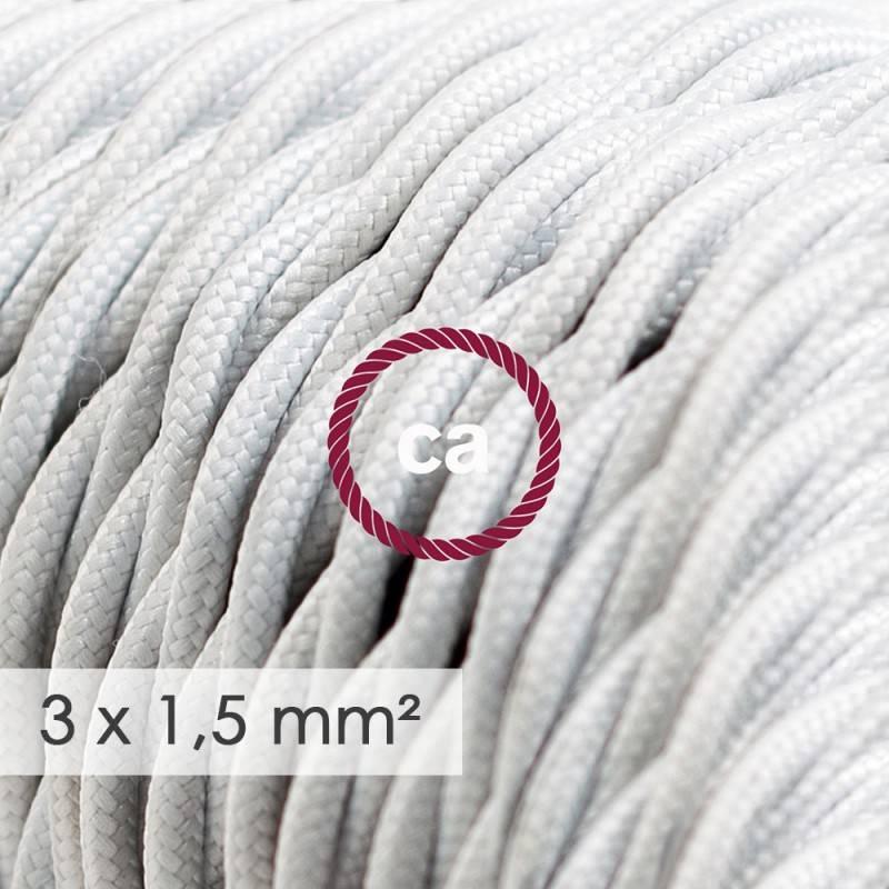 Textilkabel geflochten mit breitem Querschnitt 3x1,50 - Seideneffekt Weiß TM01