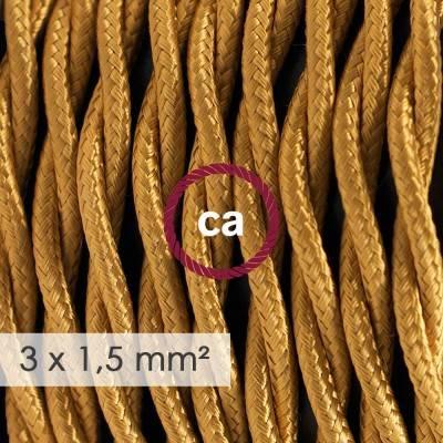 Textilkabel geflochten mit breitem Querschnitt 3x1,50 - Seideneffekt Gold TM05