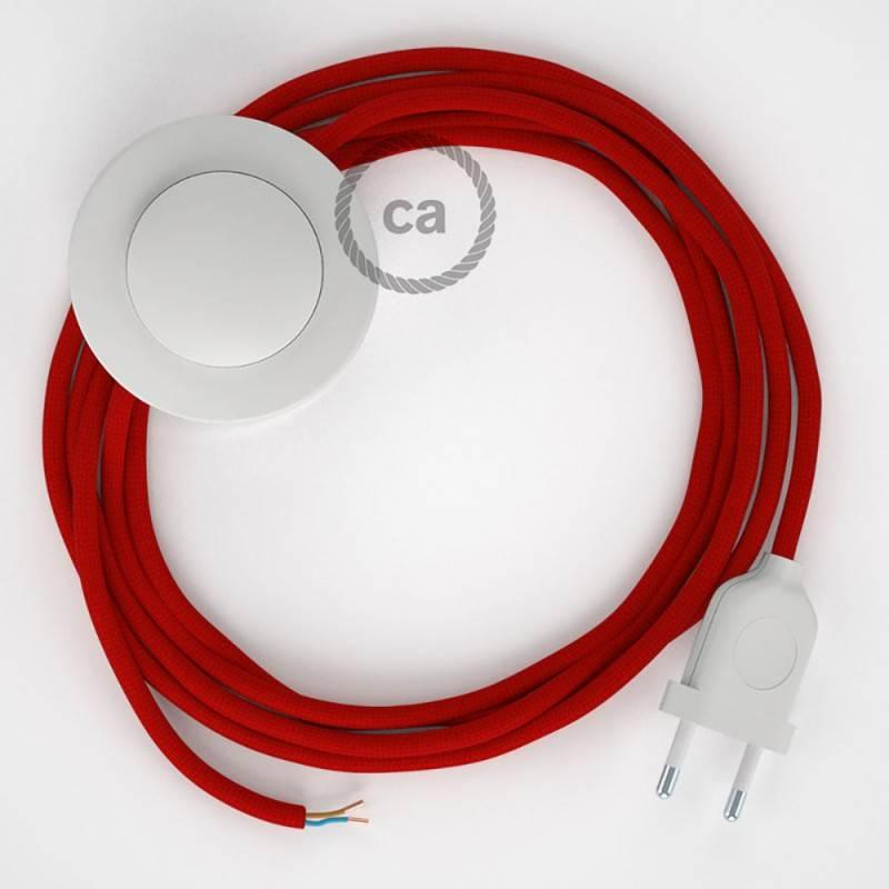 Stehleuchte Anschlussleitung RM09 Rot Seideneffekt 3 m. Wählen Sie aus drei Farben bei Schalter und Stecke.
