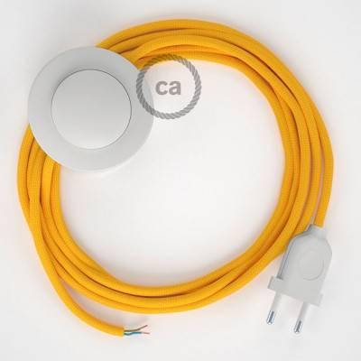 Stehleuchte Anschlussleitung RM10 Gelb Seideneffekt 3 m. Wählen Sie aus drei Farben bei Schalter und Stecke.