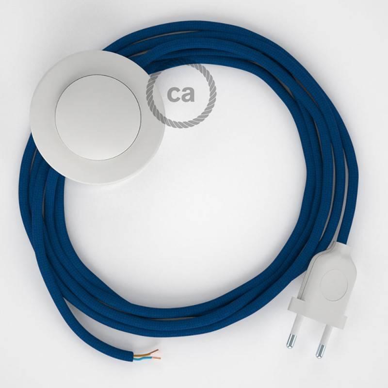 Stehleuchte Anschlussleitung RM12 Blau Seideneffekt 3 m. Wählen Sie aus drei Farben bei Schalter und Stecke.