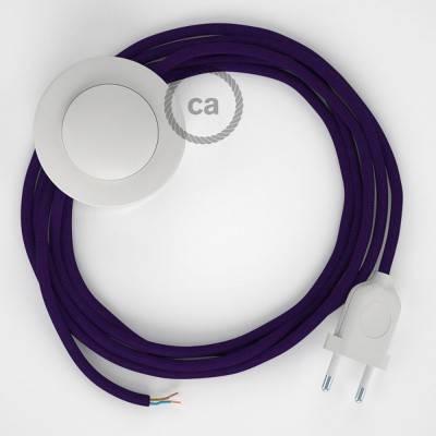 Stehleuchte Anschlussleitung RM14 Violett Seideneffekt 3 m. Wählen Sie aus drei Farben bei Schalter und Stecke.
