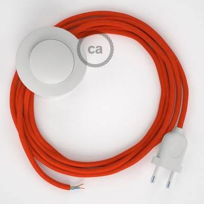 Stehleuchte Anschlussleitung RM15 Orange Seideneffekt 3 m. Wählen Sie aus drei Farben bei Schalter und Stecke.