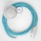 Stehleuchte Anschlussleitung RM17 Babyblau Seideneffekt 3 m. Wählen Sie aus drei Farben bei Schalter und Stecke.