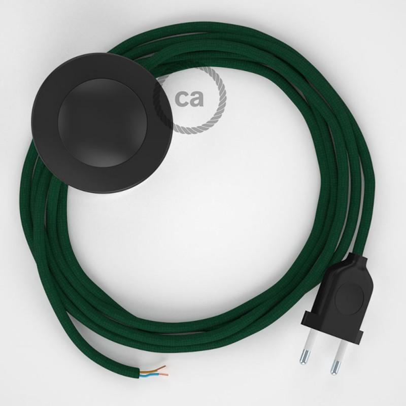 Stehleuchte Anschlussleitung RM21 Dunkelgrün Seideneffekt 3 m. Wählen Sie aus drei Farben bei Schalter und Stecke.