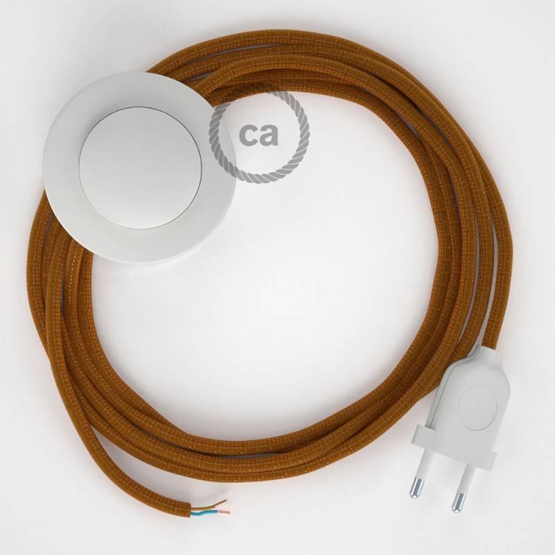 Stehleuchte Anschlussleitung RM22 Whiskey Seideneffekt 3 m. Wählen Sie aus drei Farben bei Schalter und Stecke.