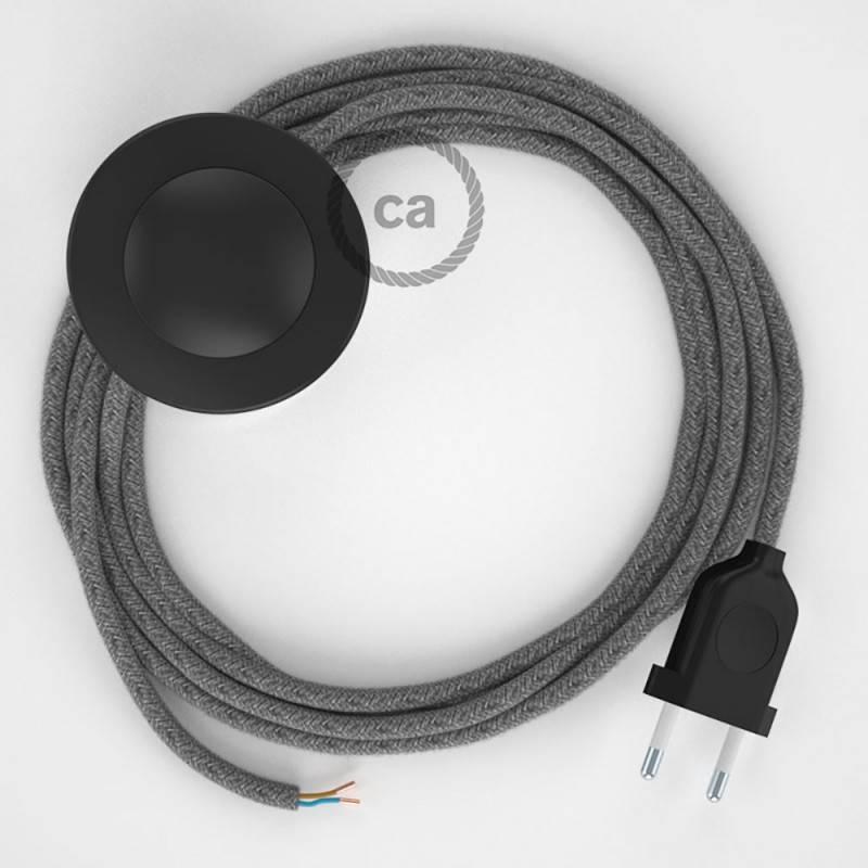 Stehleuchte Anschlussleitung RN02 Grau Natürliches Leinen 3 m. Wählen Sie aus drei Farben bei Schalter und Stecke.