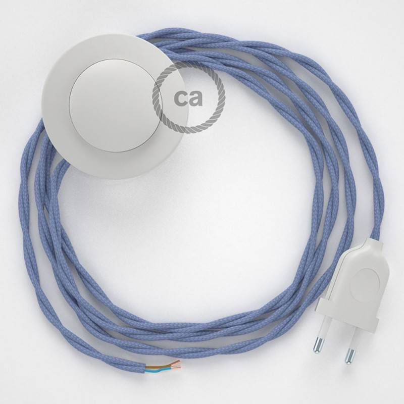 Stehleuchte Anschlussleitung TM07 Lila Seideneffekt 3 m. Wählen Sie aus drei Farben bei Schalter und Stecke.