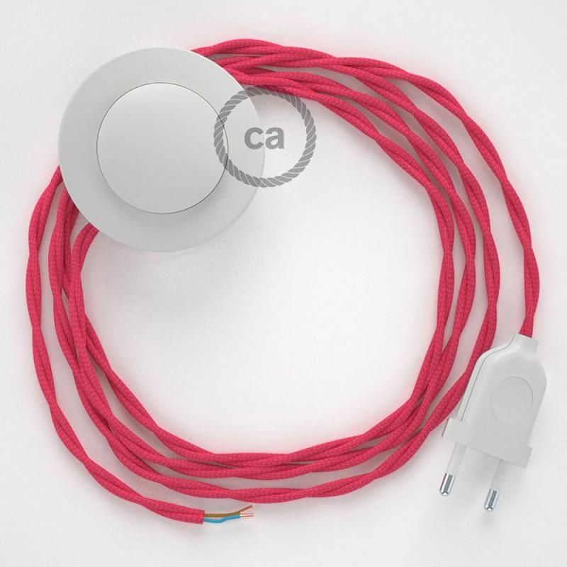 Stehleuchte Anschlussleitung TM08 Fuchsia Seideneffekt 3 m. Wählen Sie aus drei Farben bei Schalter und Stecke.