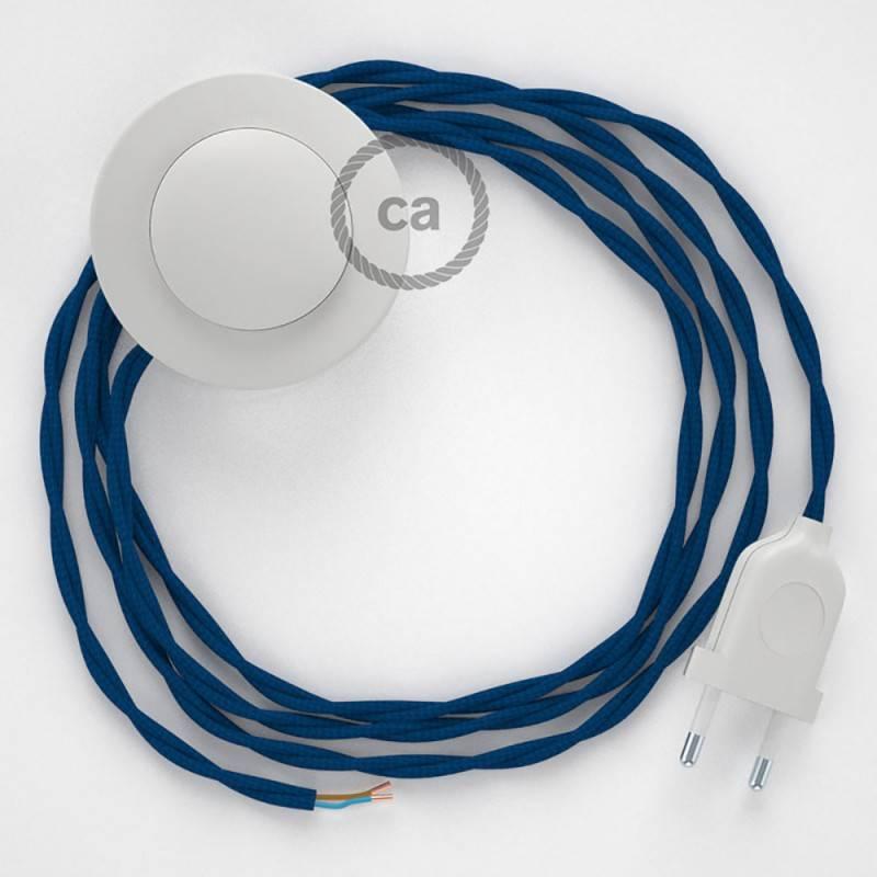 Stehleuchte Anschlussleitung TM12 Blau Seideneffekt 3 m. Wählen Sie aus drei Farben bei Schalter und Stecke.