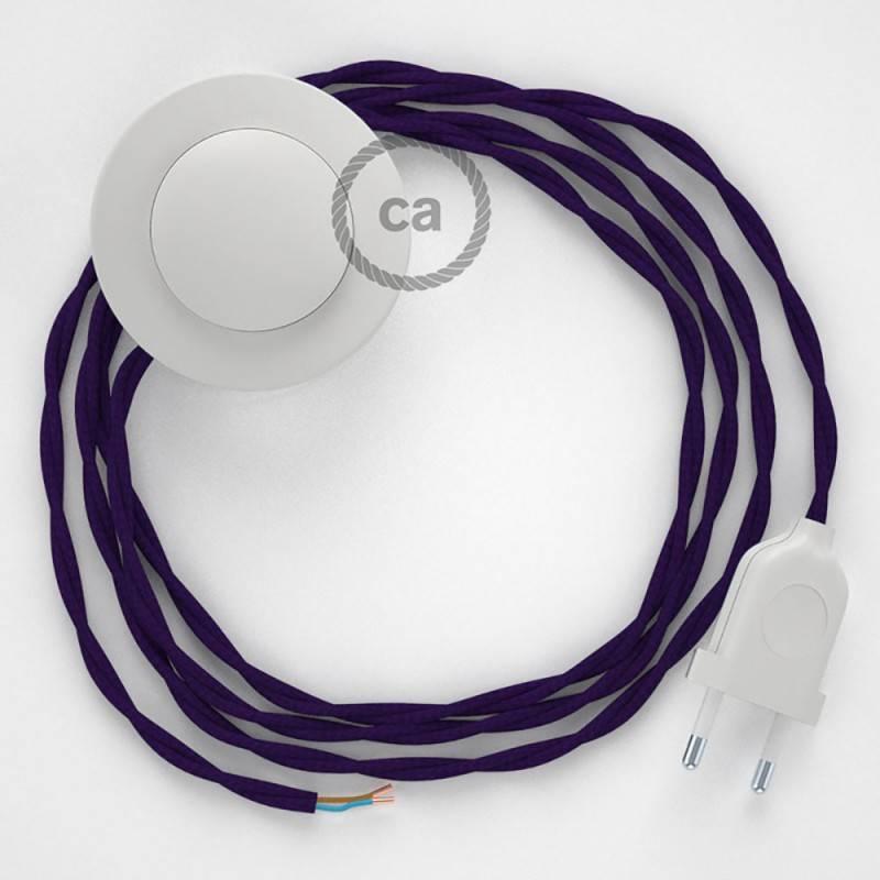 Stehleuchte Anschlussleitung TM14 Violett Seideneffekt 3 m. Wählen Sie aus drei Farben bei Schalter und Stecke.