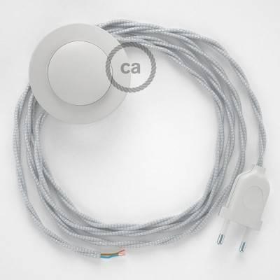 Stehleuchte Anschlussleitung TM02 Silber Seideneffekt 3 m. Wählen Sie aus drei Farben bei Schalter und Stecke.