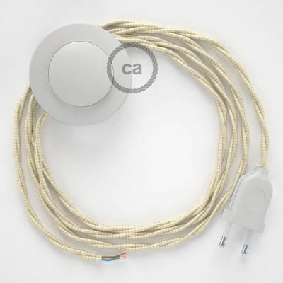 Stehleuchte Anschlussleitung TM00 Elfenbein Seideneffekt 3 m. Wählen Sie aus drei Farben bei Schalter und Stecke.