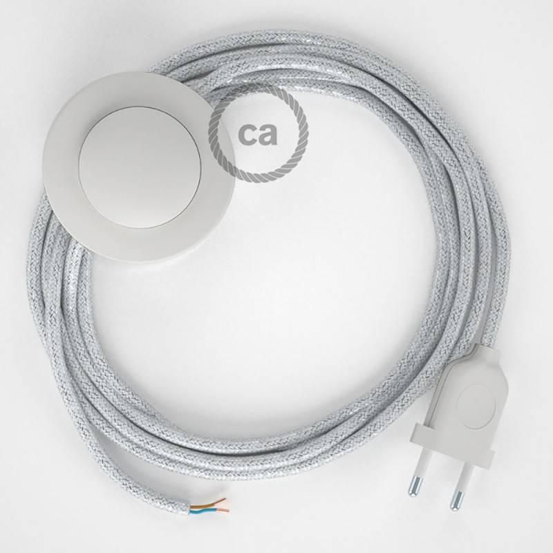 Stehleuchte Anschlussleitung RL01 Weiß Geglittert Seideneffekt 3 m. Wählen Sie aus drei Farben bei Schalter und Stecke.