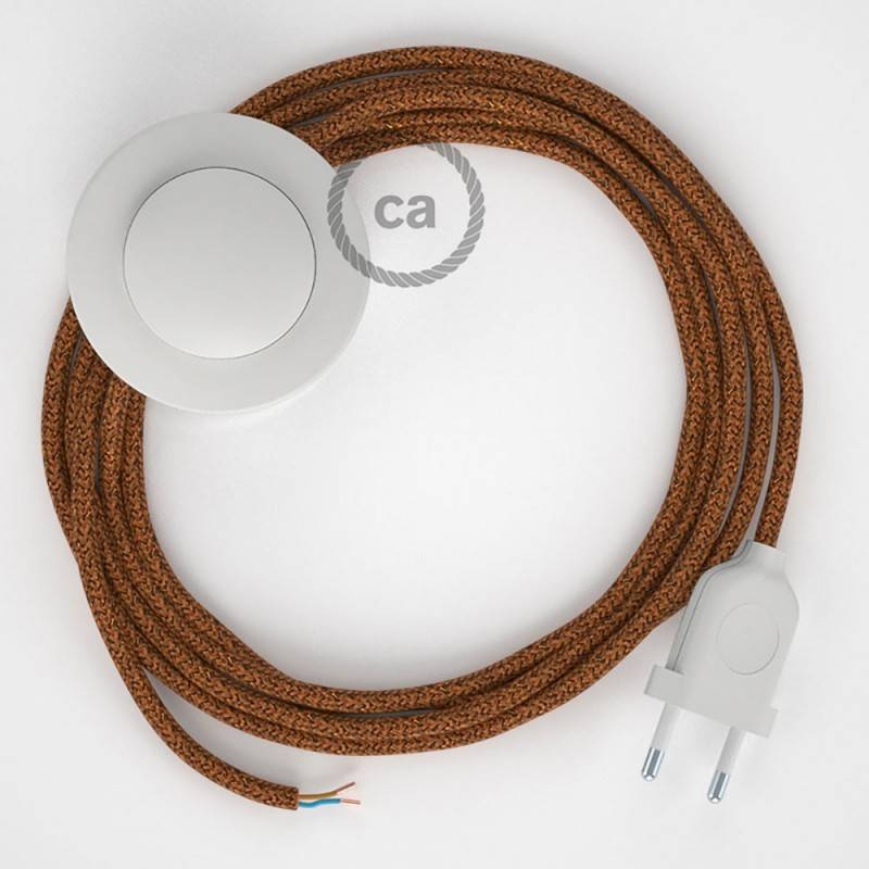 Stehleuchte Anschlussleitung RL22 Kupfer Geglittert Seideneffekt 3 m. Wählen Sie aus drei Farben bei Schalter und Stecke.