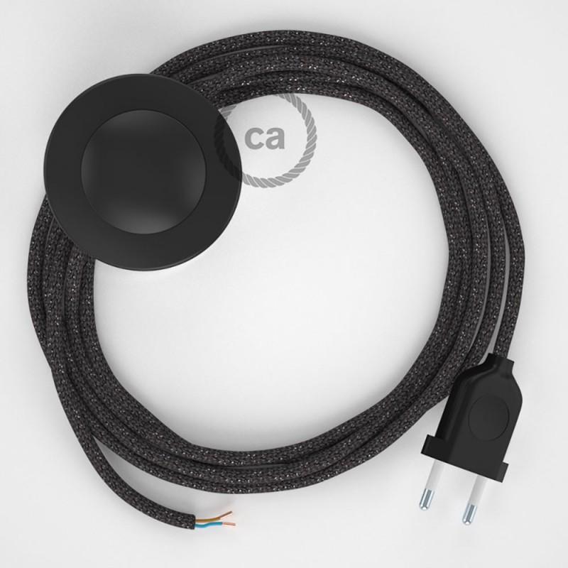 Stehleuchte Anschlussleitung RL03 Grau Geglittert Seideneffekt 3 m. Wählen Sie aus drei Farben bei Schalter und Stecke.
