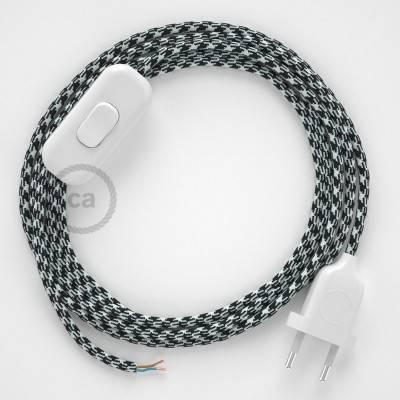 Zuleitung für Tischleuchten RP04 Bifarbig Weiß Schwarz Seideneffekt 1,80 m. Wählen Sie aus drei Farben bei Schalter und Stecke.