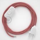 Zuleitung für Tischleuchten RZ09 Zick-Zack Weiß Rot Seideneffekt 1,80 m. Wählen Sie aus drei Farben bei Schalter und Stecke.