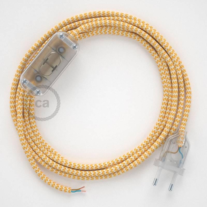 Zuleitung für Tischleuchten RZ10 Zick-Zack Weiß Gelb Seideneffekt 1,80 m. Wählen Sie aus drei Farben bei Schalter und Stecke.