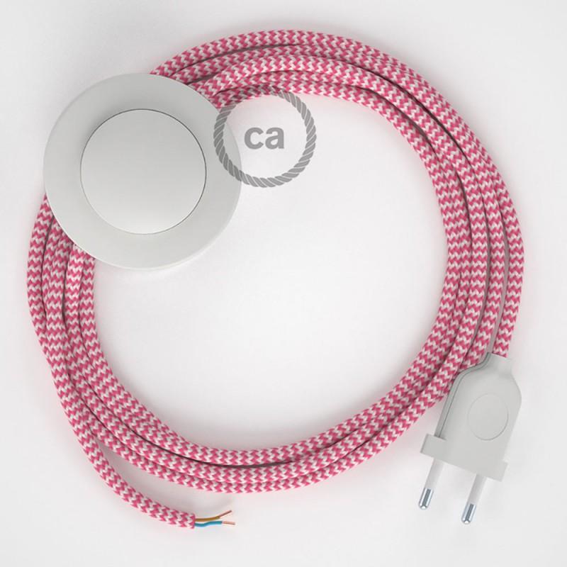 Stehleuchte Anschlussleitung RZ08 Zick-Zack Weiß Fuchsia Seideneffekt 3 m. Wählen Sie aus drei Farben bei Schalter und Stecke.