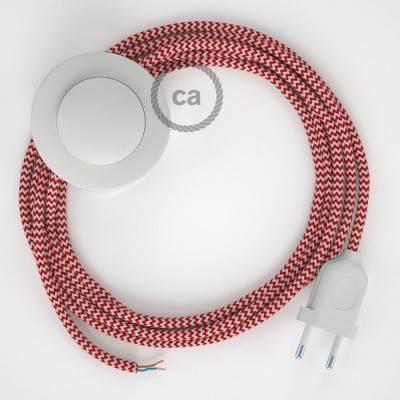 Stehleuchte Anschlussleitung RZ09 Zick-Zack Weiß Rot Seideneffekt 3 m. Wählen Sie aus drei Farben bei Schalter und Stecke.